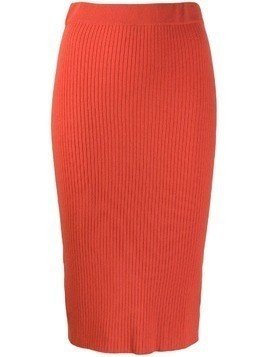 Cashmere In Love ribbed knitted skirt - Orange