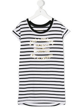 Zadig & Voltaire Kids - striped T-shirt dress - Kinder - Cotton - 12 yrs - Black