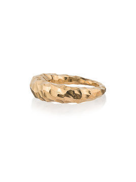 All Blues Yellow Gold Curved Fat Snake Ring - Metallic
