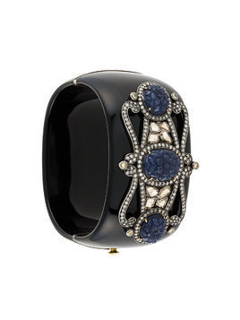Gemco sapphire and diamond embellished cuff - Black