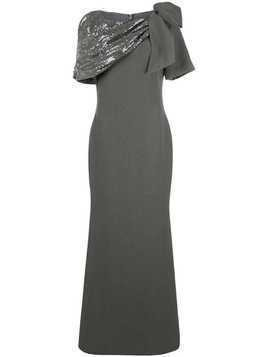 Badgley Mischka Asymmetrical Draped Shoulder Gown - Grey
