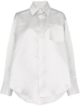 Matthew Adams Dolan silver metallic oversized silk oxford shirt
