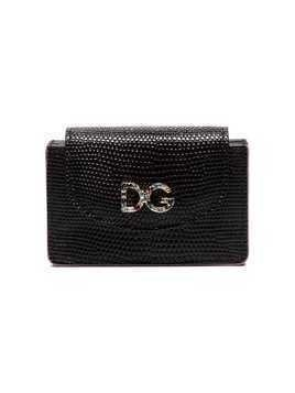 Dolce & Gabbana black DG crystal embellished embossed leather wallet