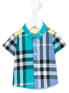 Burberry Kids short sleeved contrast check shirt - Blue