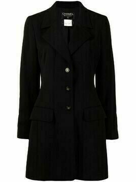 Chanel Pre-Owned 1997 CC buttons single-breasted coat - Black