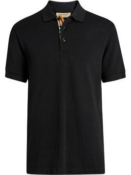 Burberry Contrast Collar Cotton Polo Shirt - Black
