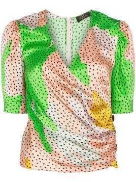 De La Vali Shanna dot-print silk wrap top - Green