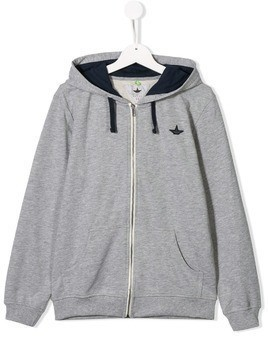 Macchia J embroidered detail hoodie - Grey