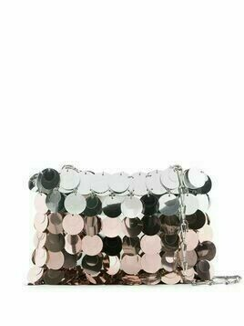 Paco Rabanne Sparkle two-tone crossbody bag - SILVER