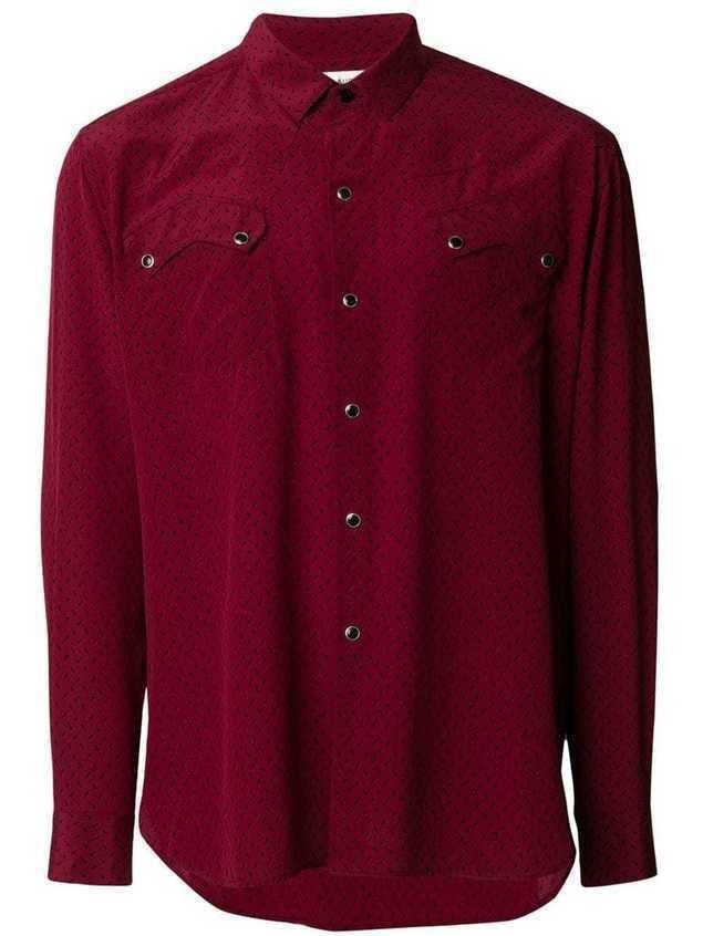 Saint Laurent micro triangle print shirt - Red