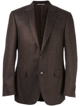 Canali woven single breasted blazer - Brown