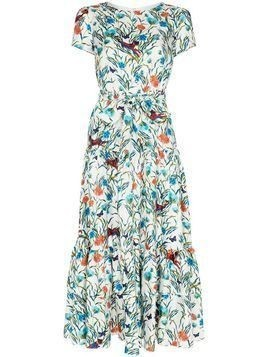 Borgo De Nor Eliza tiered floral midi dress - White