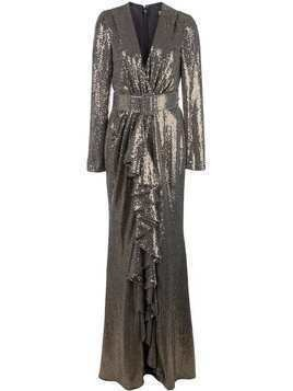 Badgley Mischka Runway Sequin V-Neck Ruffle Gown - Gold