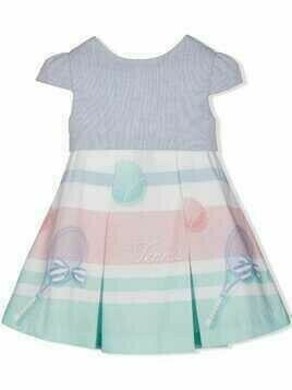 Lapin House tennis-print flared dress - Blue