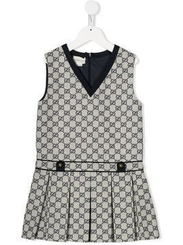 Gucci Kids monogram print pleated dress - Blue