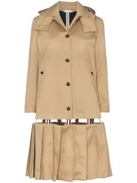 Thom Browne pleated cotton mackintosh - Nude & Neutrals