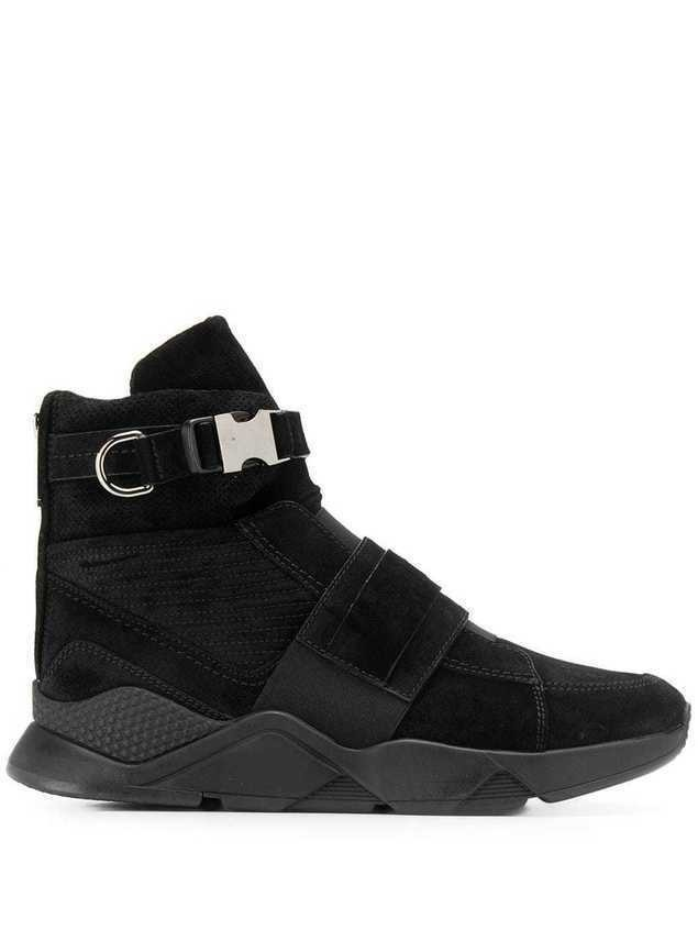 Balmain Faust mesh and leather high-top sneakers - Black