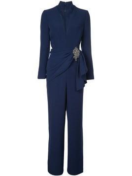 Badgley Mischka Embellished Long Sleeve Jumpsuit - Blue
