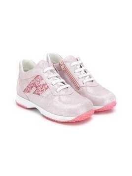 Hogan Kids glitter panelled sneakers - Pink