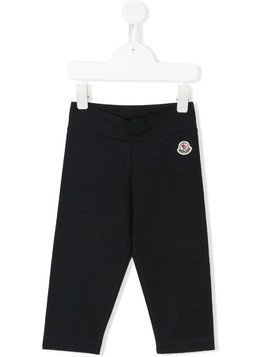 Moncler Kids logo patch leggings - Blue