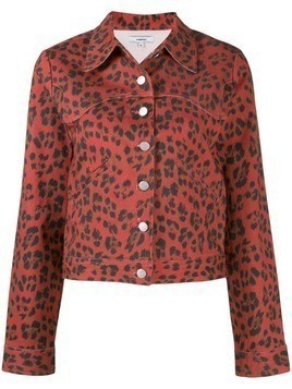 Miaou leopard Lex denim jacket - Red