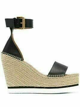 See by Chloé buckle high wedge sandals - Black