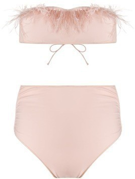 Oseree feather embellished bikini - Pink