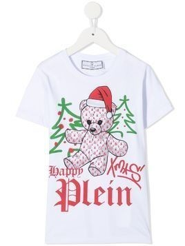 Philipp Plein Xmas teddy bear print T-shirt - White