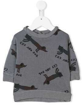 Bobo Choses Cat And Dog sweater - Grey