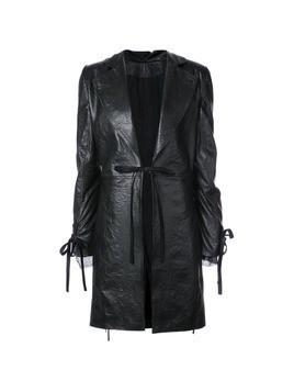 Ann Demeulemeester straight fit leather coat - Black