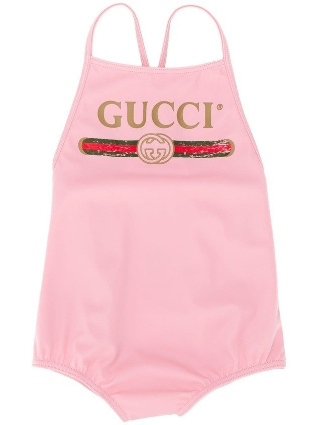 Gucci Kids classic one-piece swimsuit - PINK