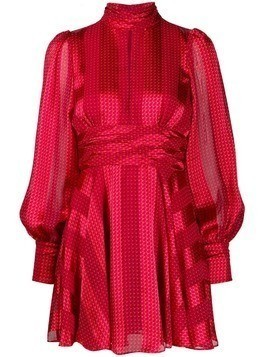 Alexis patterned striped mini dress - Red