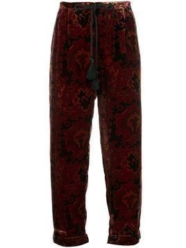 Mes Demoiselles patterned velvet trousers - Red