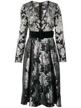 Badgley Mischka belted v-neck flared dress - Black