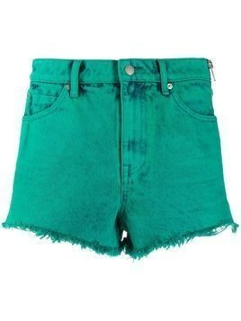 Alexander Wang frayed denim shorts - Green