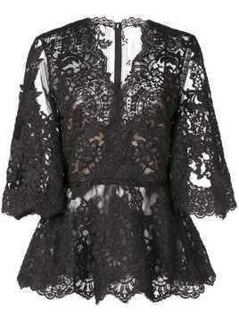 Marchesa lace see-through blouse - Black
