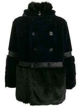 Sacai panelled faux-fur coat - Blue