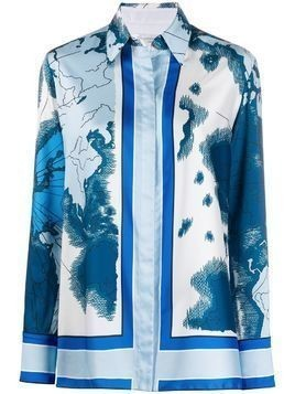 Victoria Victoria Beckham map-print long-sleeve shirt - Blue