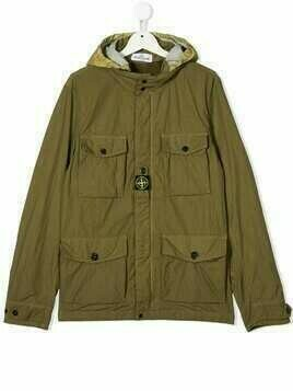 Stone Island Junior TEEN logo-patch hooded jacket - Green