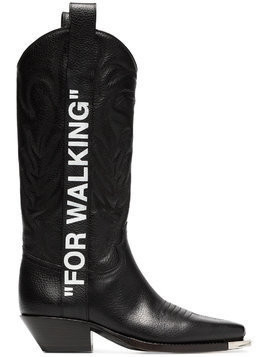 "Off-White black ""For Walking"" 40 leather western boots"