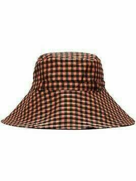 GANNI check print bucket hat - Red