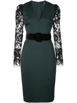 Badgley Mischka lace-sleeve belted midi dress - Green