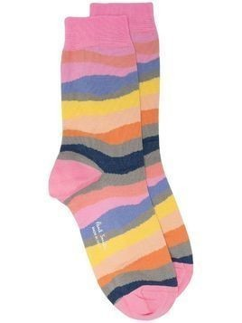 Paul Smith abstract striped socks - PINK