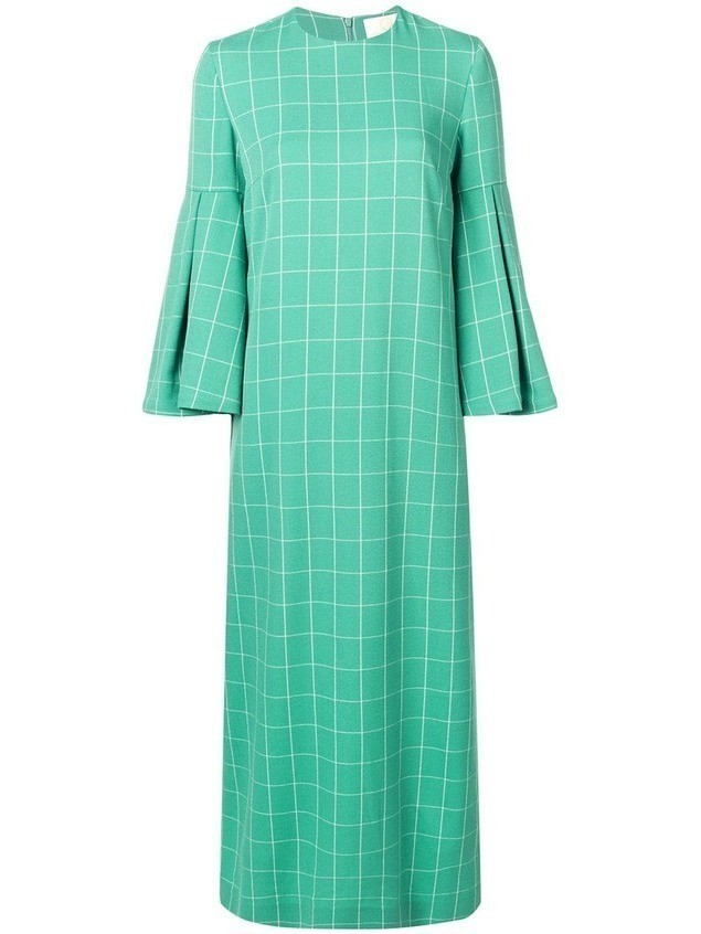 Sara Battaglia check print maxi dress - Green