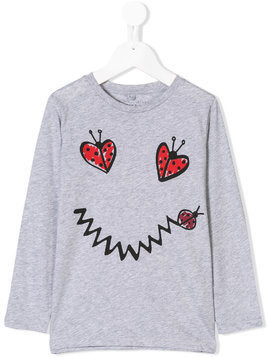 Stella Mccartney Kids ladybug print long sleeve T-shirt - Grey