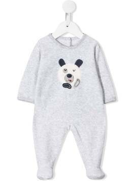 Absorba embroidered bear jersey romper - Grey