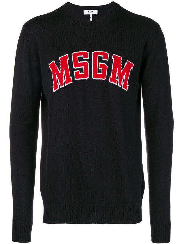 MSGM logo-knit sweater - Black