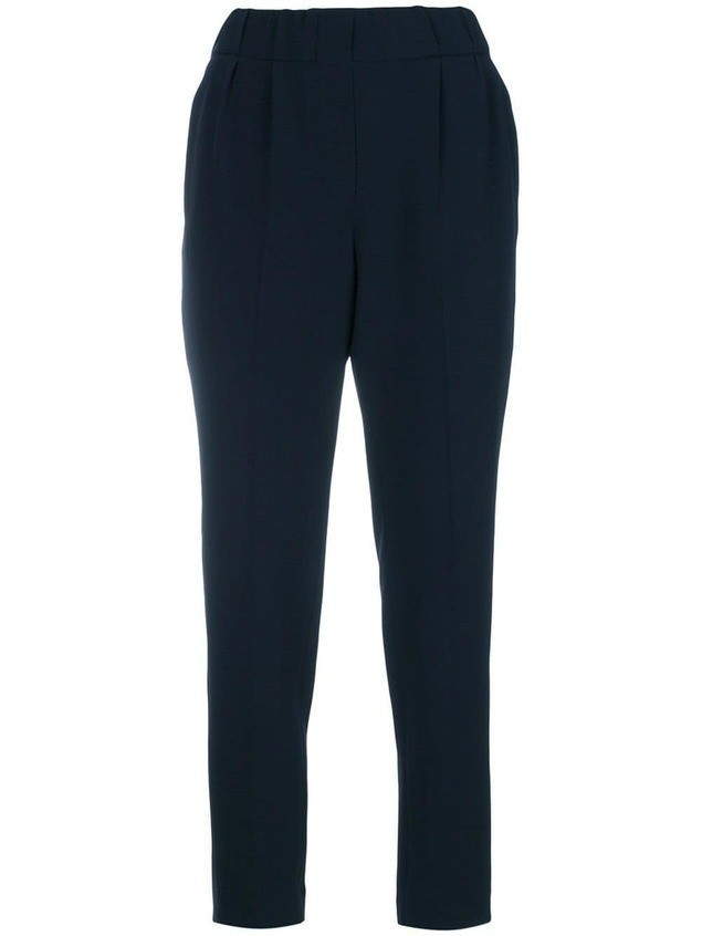 Brunello Cucinelli tapered cropped trousers - Blue