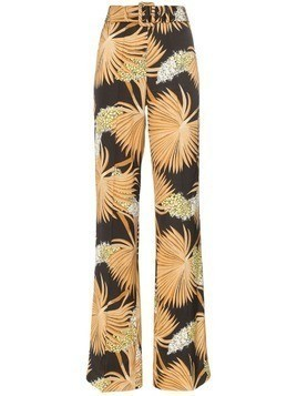 De La Vali Uma palm-print high-waist tailored trousers - 012 Black Palm