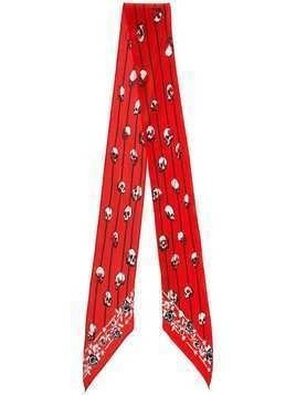Rockins printed skinny silk scarf - Red